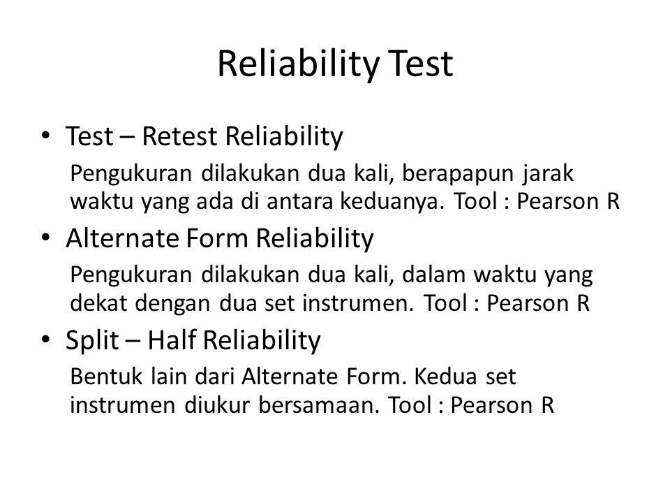 Reliability Test Test – Retest Reliability Alternate Form Reliability