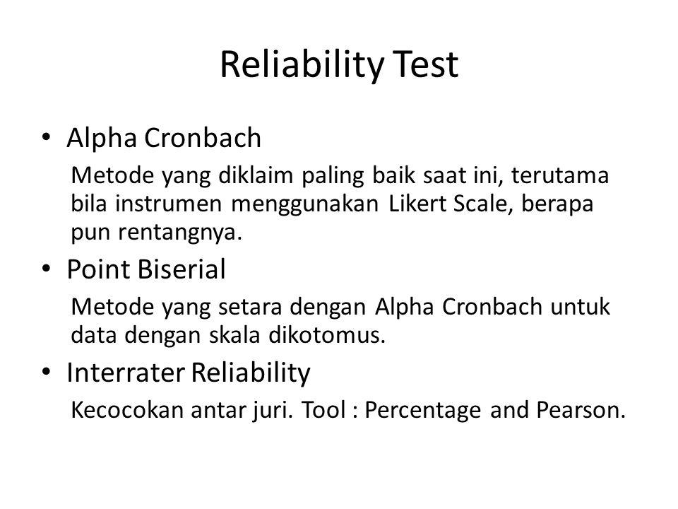 Reliability Test Alpha Cronbach Point Biserial Interrater Reliability