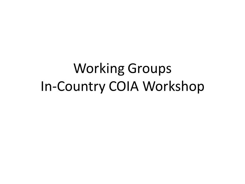 Working Groups In-Country COIA Workshop