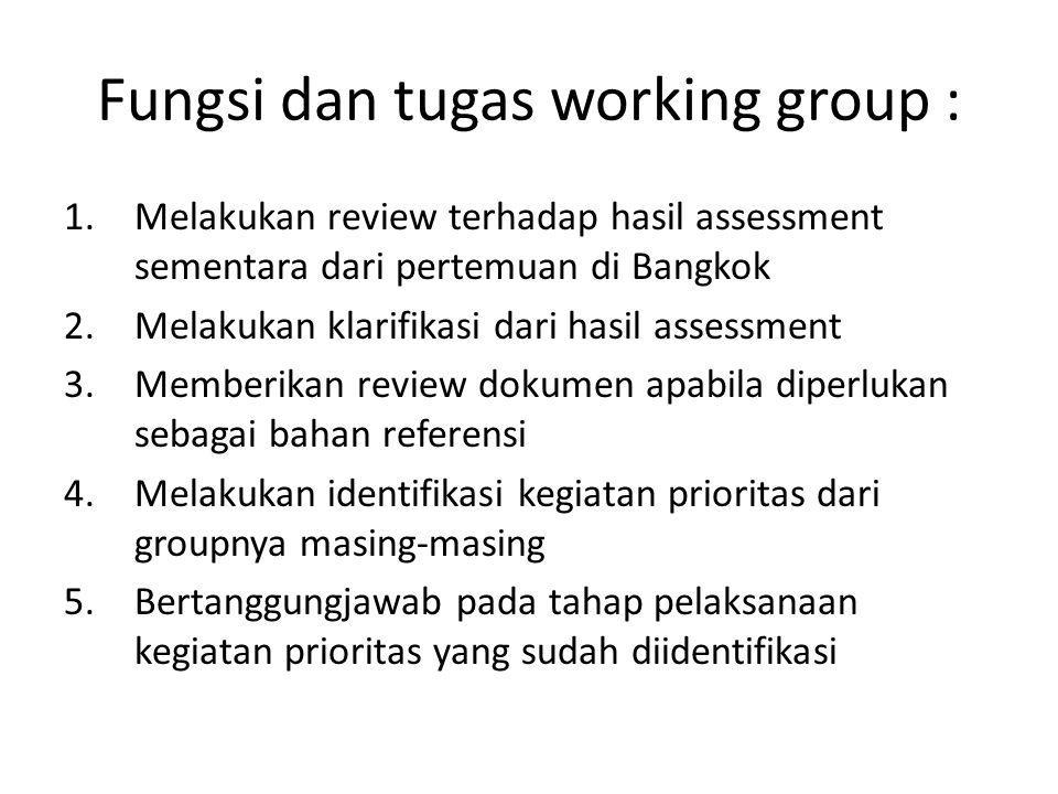 Fungsi dan tugas working group :
