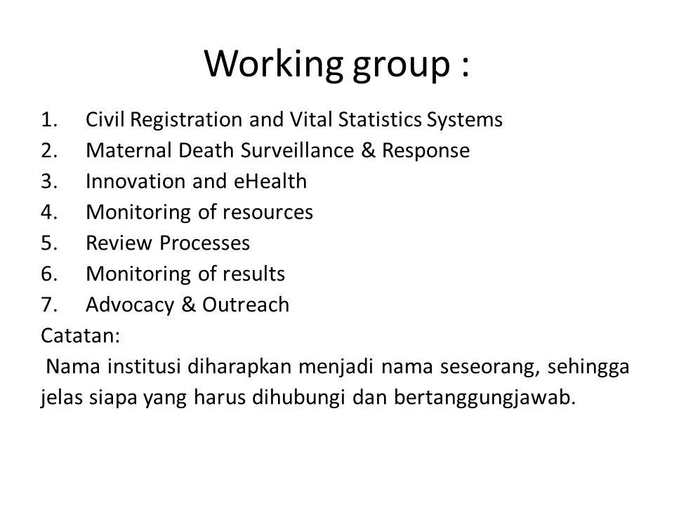 Working group : Civil Registration and Vital Statistics Systems