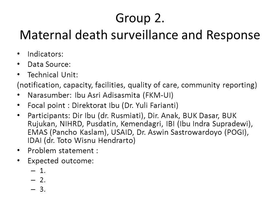 Group 2. Maternal death surveillance and Response