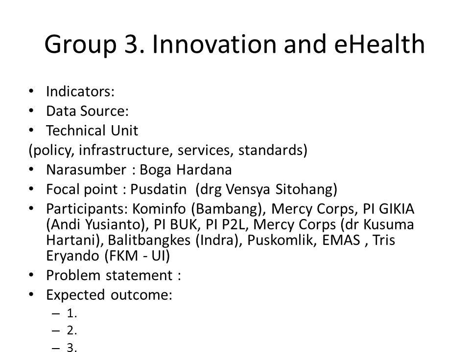 Group 3. Innovation and eHealth