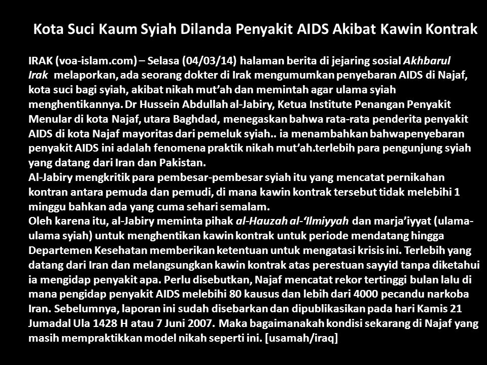 Kota Suci Kaum Syiah Dilanda Penyakit AIDS Akibat Kawin Kontrak