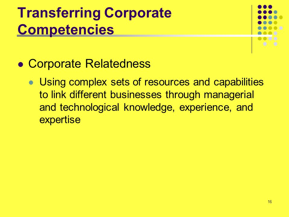 Transferring Corporate Competencies