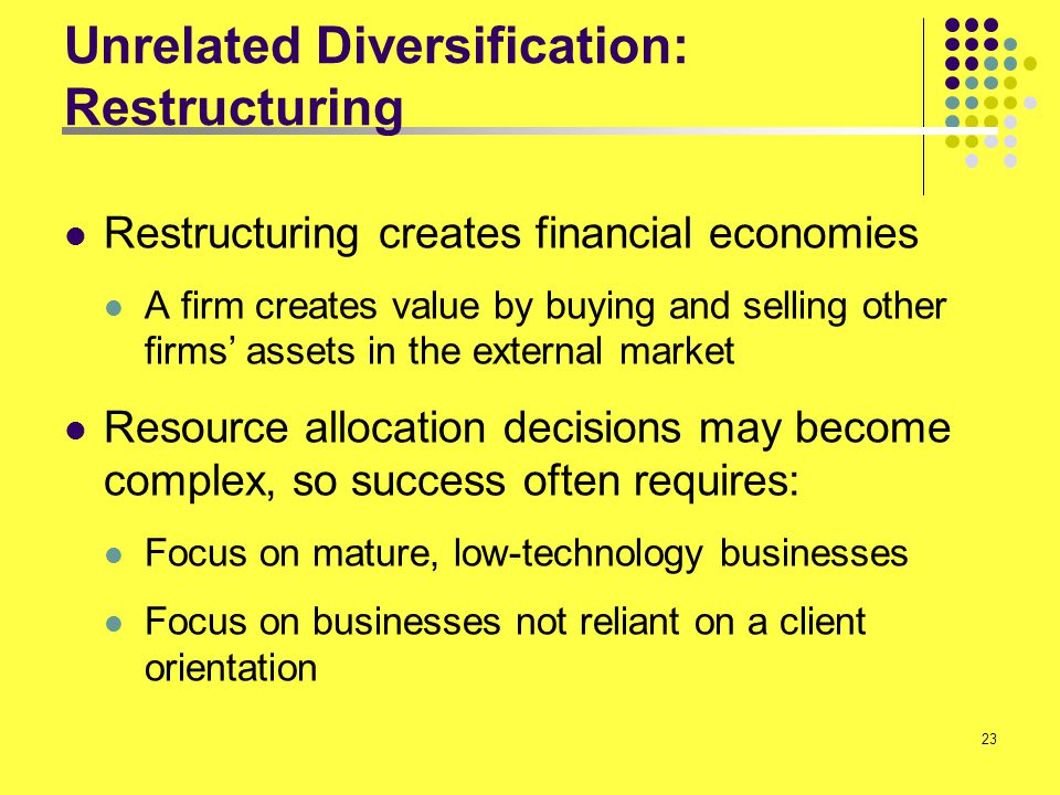 Unrelated Diversification: Restructuring