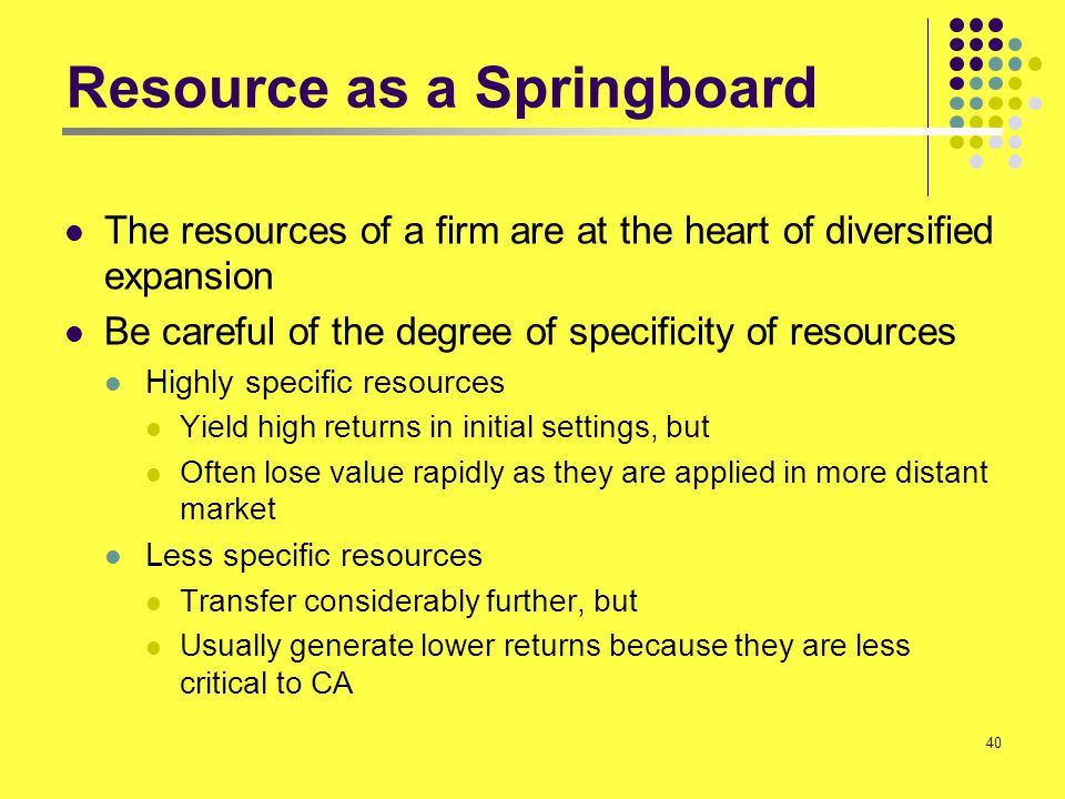 Resource as a Springboard