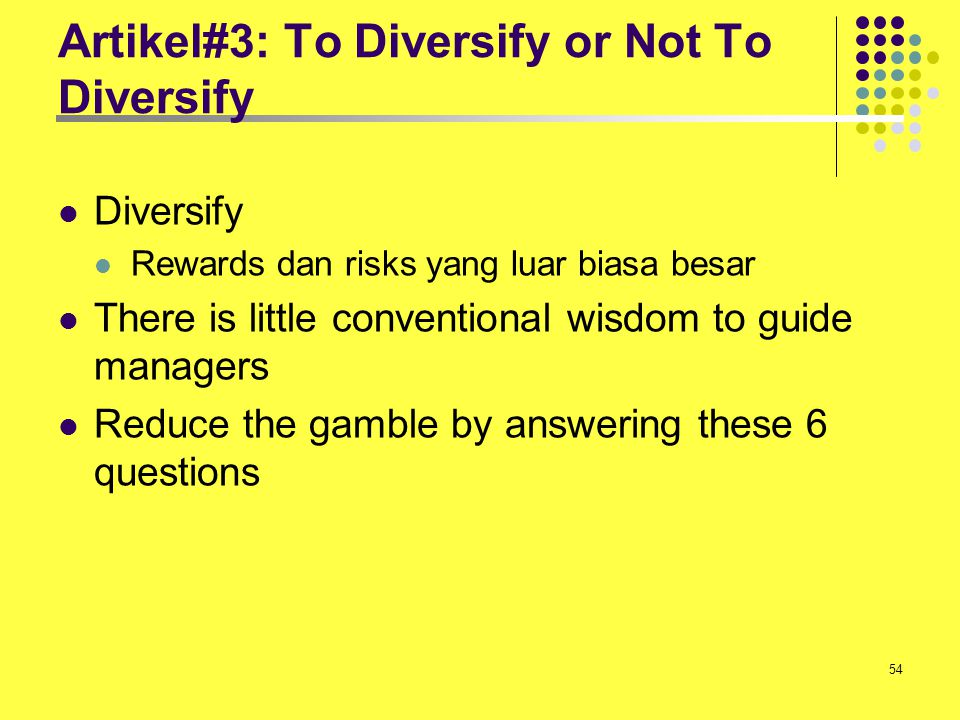 Artikel#3: To Diversify or Not To Diversify
