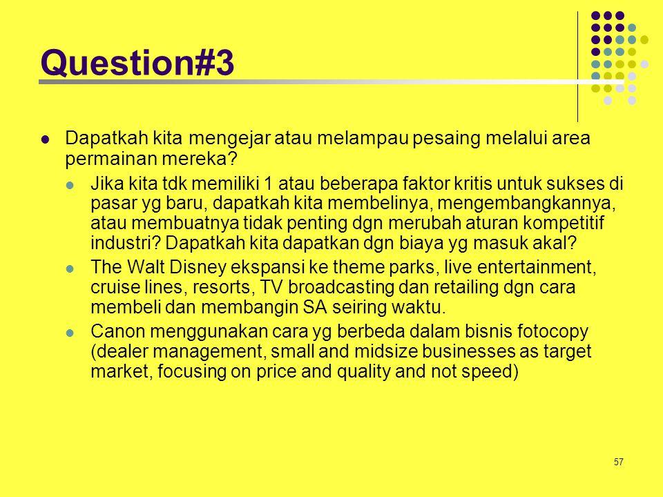 Question#3 Dapatkah kita mengejar atau melampau pesaing melalui area permainan mereka