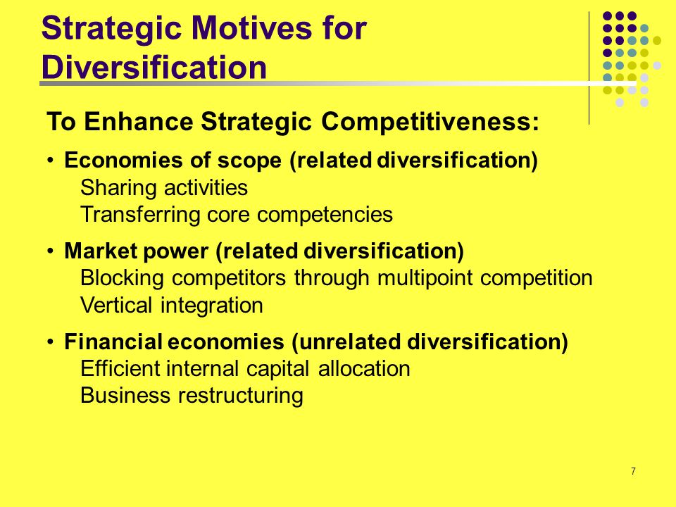 Strategic Motives for Diversification