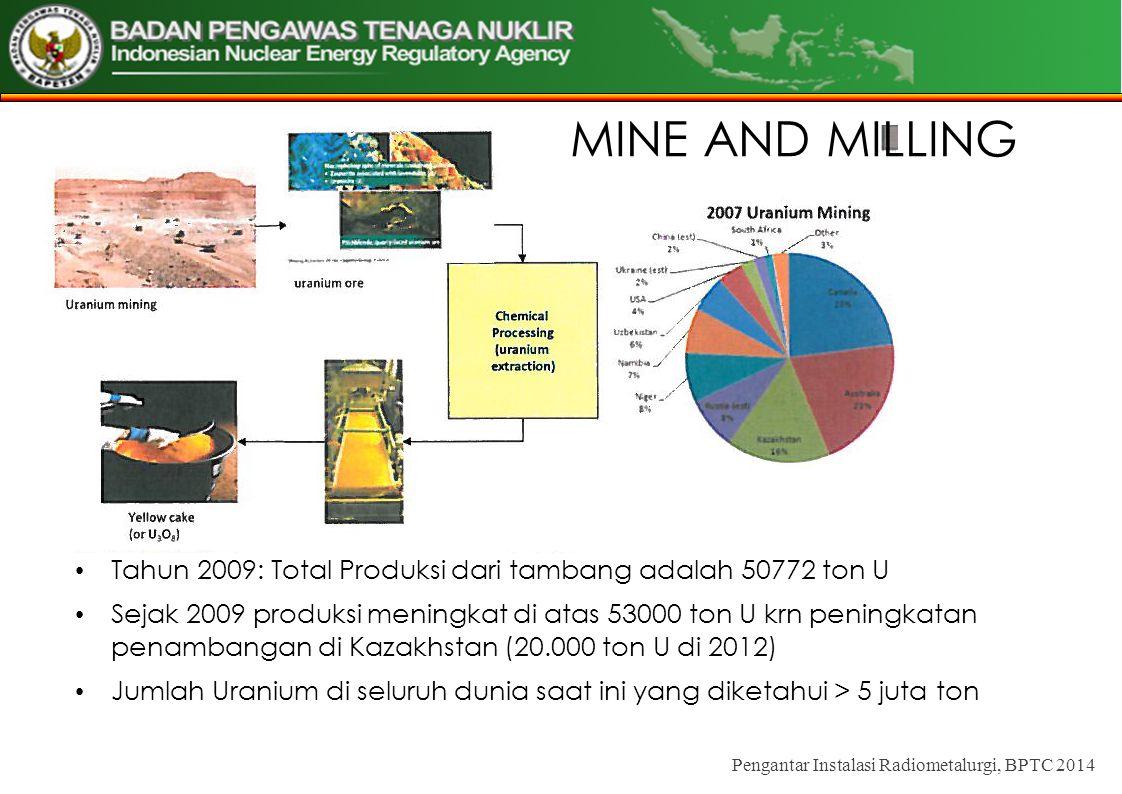 MINE AND MILLING Tahun 2009: Total Produksi dari tambang adalah 50772 ton U.