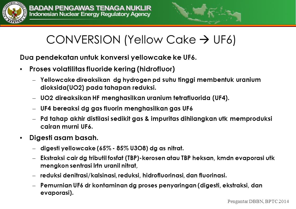 CONVERSION (Yellow Cake  UF6)