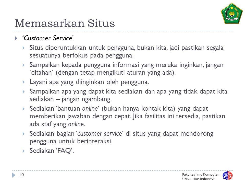 Memasarkan Situs 'Customer Service'