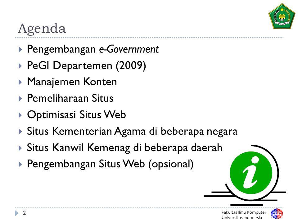 Agenda Pengembangan e-Government PeGI Departemen (2009)