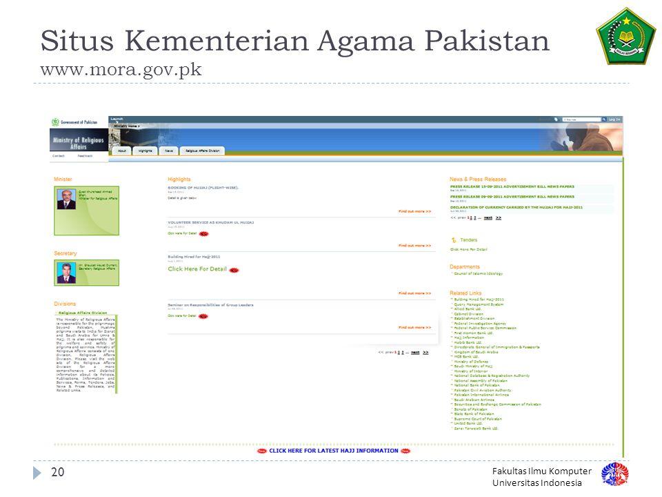 Situs Kementerian Agama Pakistan www.mora.gov.pk