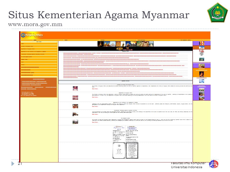 Situs Kementerian Agama Myanmar www.mora.gov.mm
