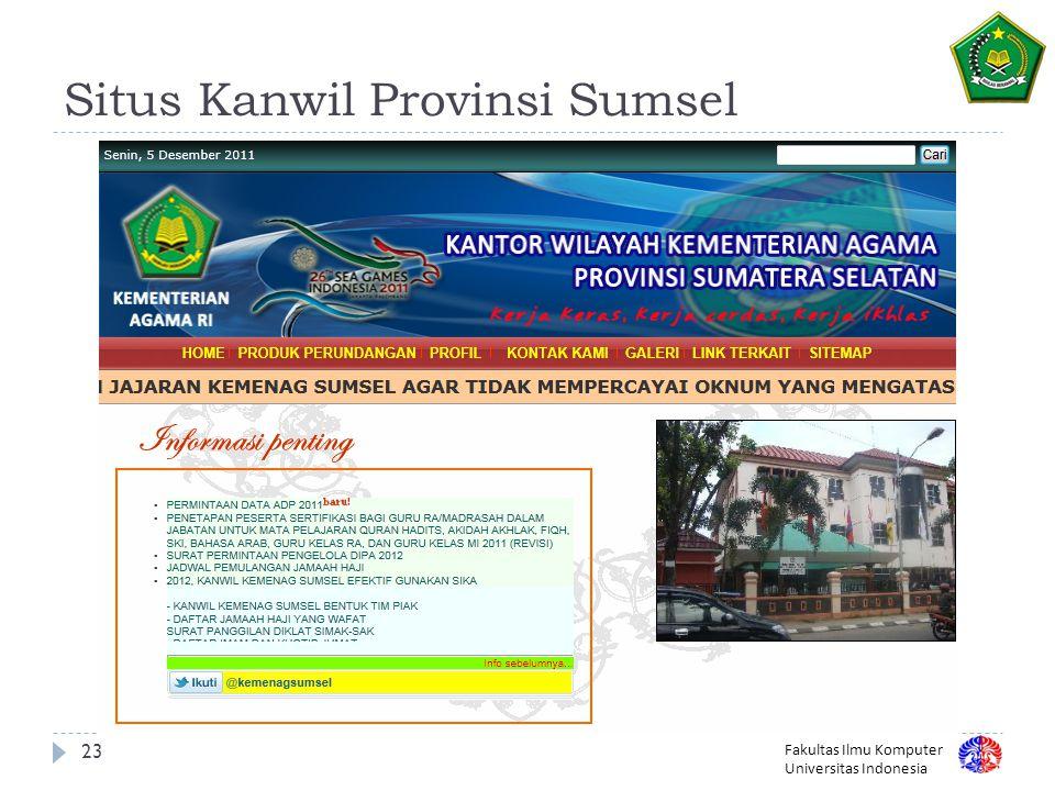 Situs Kanwil Provinsi Sumsel