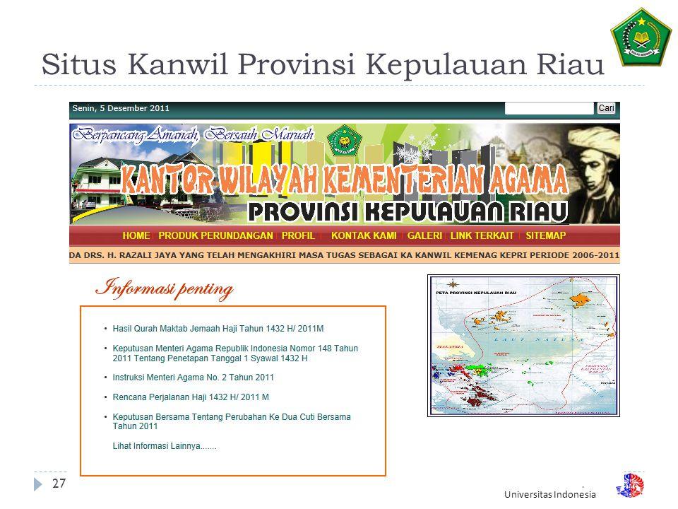 Situs Kanwil Provinsi Kepulauan Riau