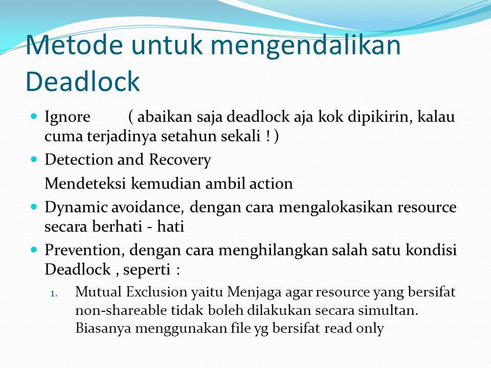Metode untuk mengendalikan Deadlock