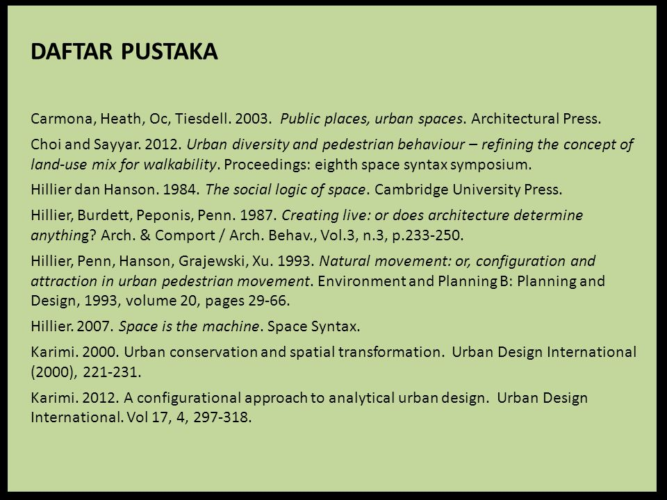 DAFTAR PUSTAKA Carmona, Heath, Oc, Tiesdell. 2003. Public places, urban spaces. Architectural Press.