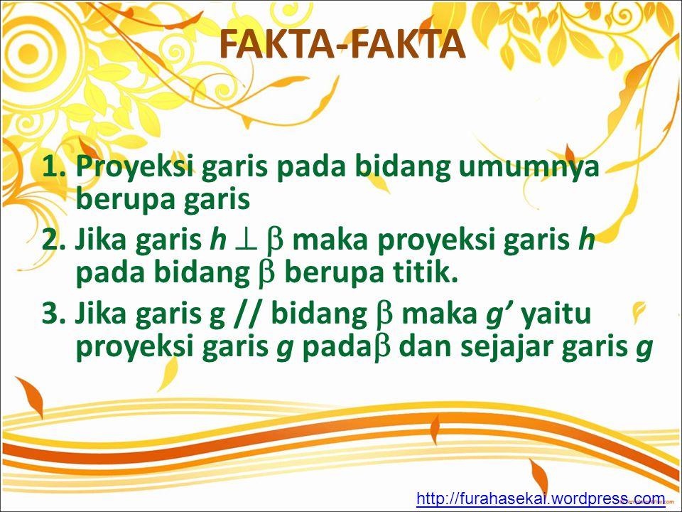 FAKTA-FAKTA 1. Proyeksi garis pada bidang umumnya berupa garis