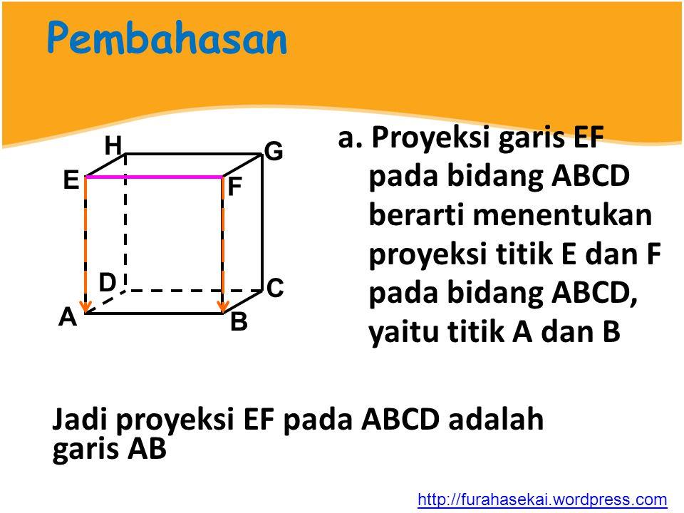 Pembahasan a. Proyeksi garis EF pada bidang ABCD berarti menentukan