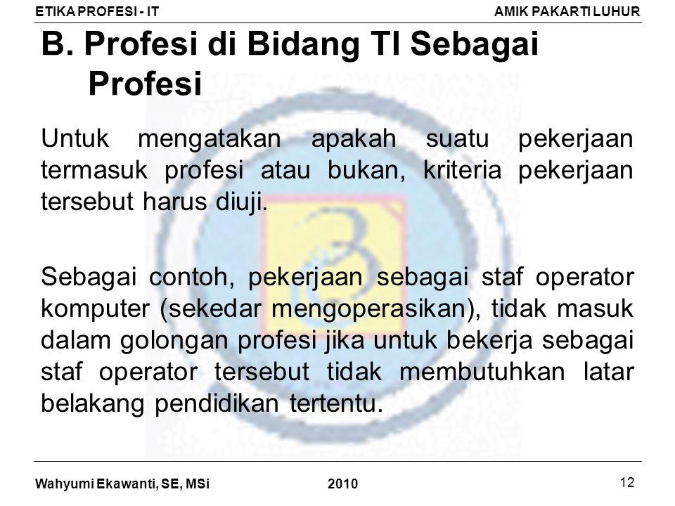 B. Profesi di Bidang TI Sebagai Profesi