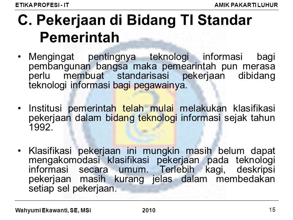 C. Pekerjaan di Bidang TI Standar Pemerintah