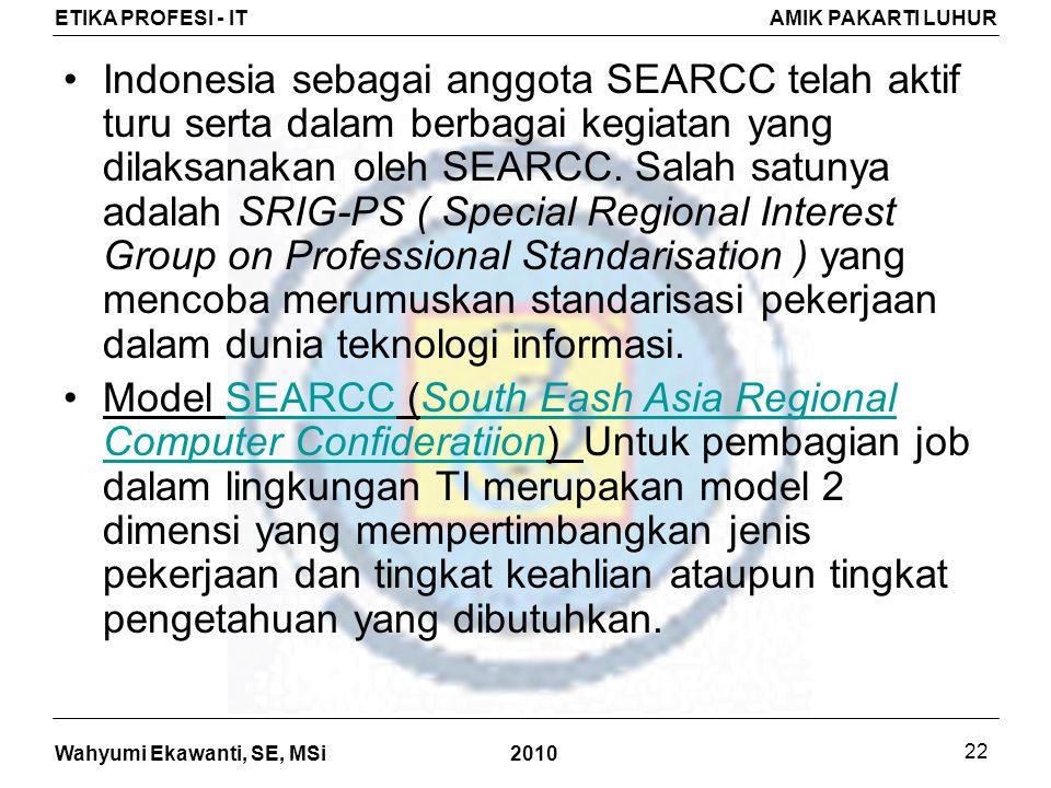 Indonesia sebagai anggota SEARCC telah aktif turu serta dalam berbagai kegiatan yang dilaksanakan oleh SEARCC. Salah satunya adalah SRIG-PS ( Special Regional Interest Group on Professional Standarisation ) yang mencoba merumuskan standarisasi pekerjaan dalam dunia teknologi informasi.