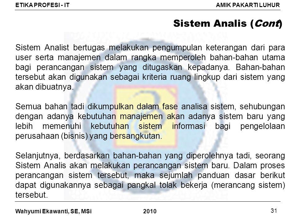 Sistem Analis (Cont)