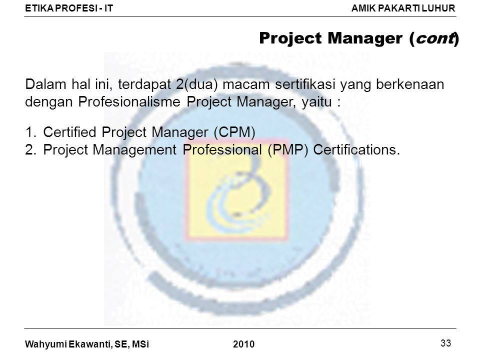 Project Manager (cont)