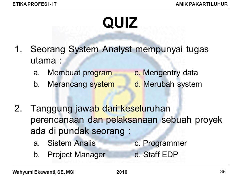 QUIZ Seorang System Analyst mempunyai tugas utama :