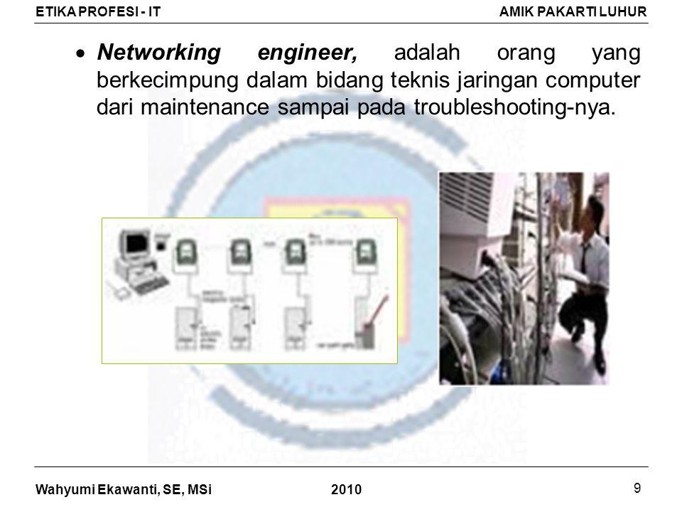 Networking engineer, adalah orang yang berkecimpung dalam bidang teknis jaringan computer dari maintenance sampai pada troubleshooting-nya.