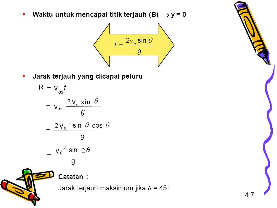 Waktu untuk mencapai titik terjauh (B)  y = 0