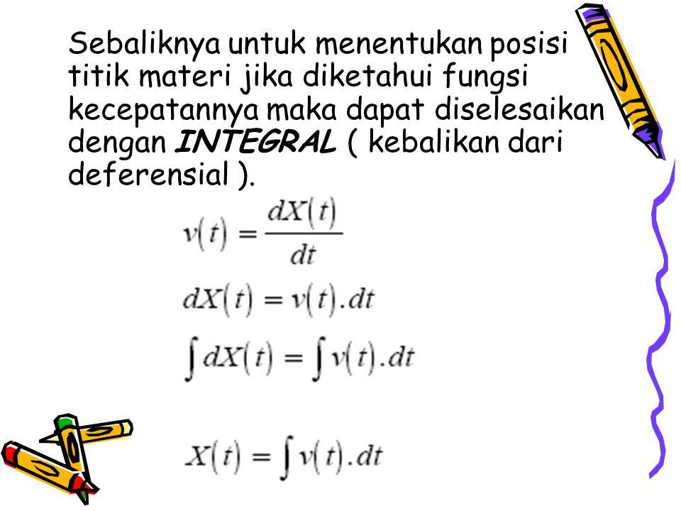 Sebaliknya untuk menentukan posisi titik materi jika diketahui fungsi kecepatannya maka dapat diselesaikan dengan INTEGRAL ( kebalikan dari deferensial ).