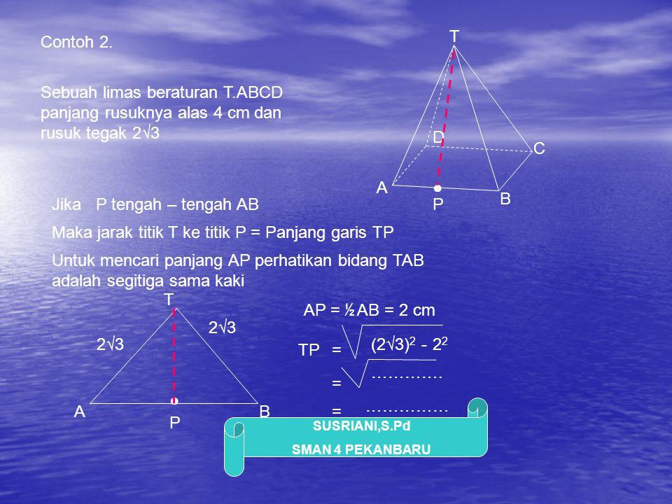 T Contoh 2. Sebuah limas beraturan T.ABCD panjang rusuknya alas 4 cm dan rusuk tegak 2√3. D. C. A.