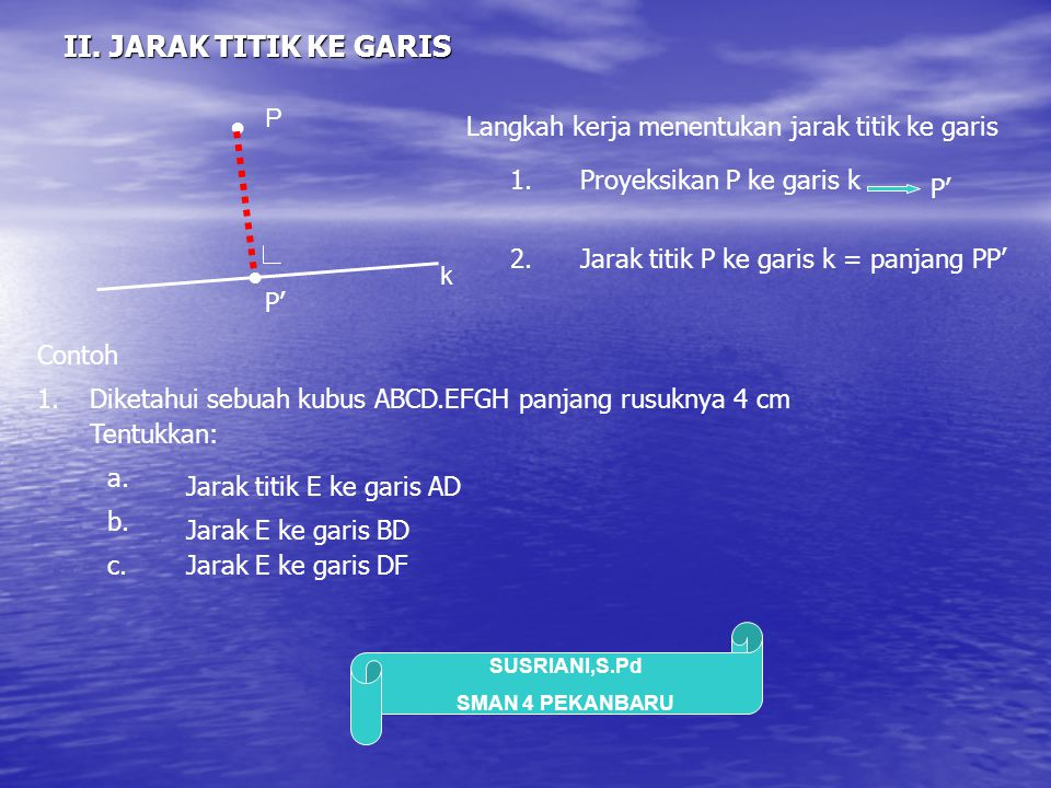II. JARAK TITIK KE GARIS P ●