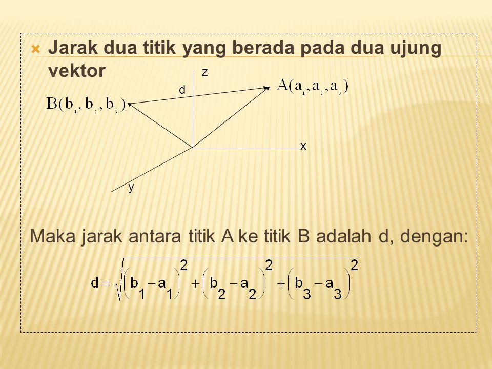 Jarak dua titik yang berada pada dua ujung vektor