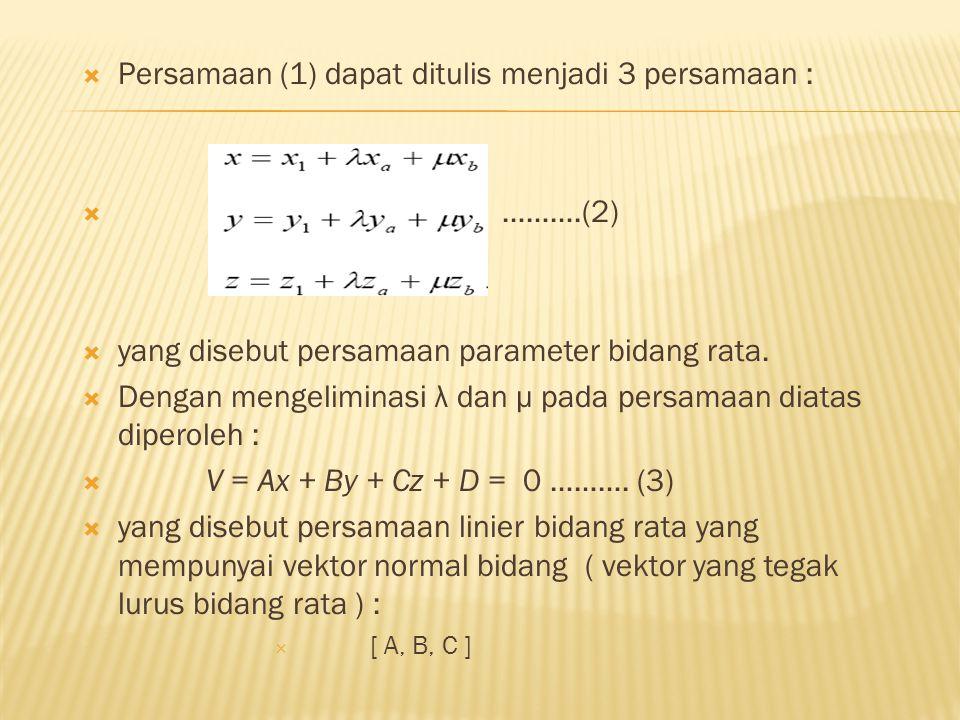 Persamaan (1) dapat ditulis menjadi 3 persamaan :