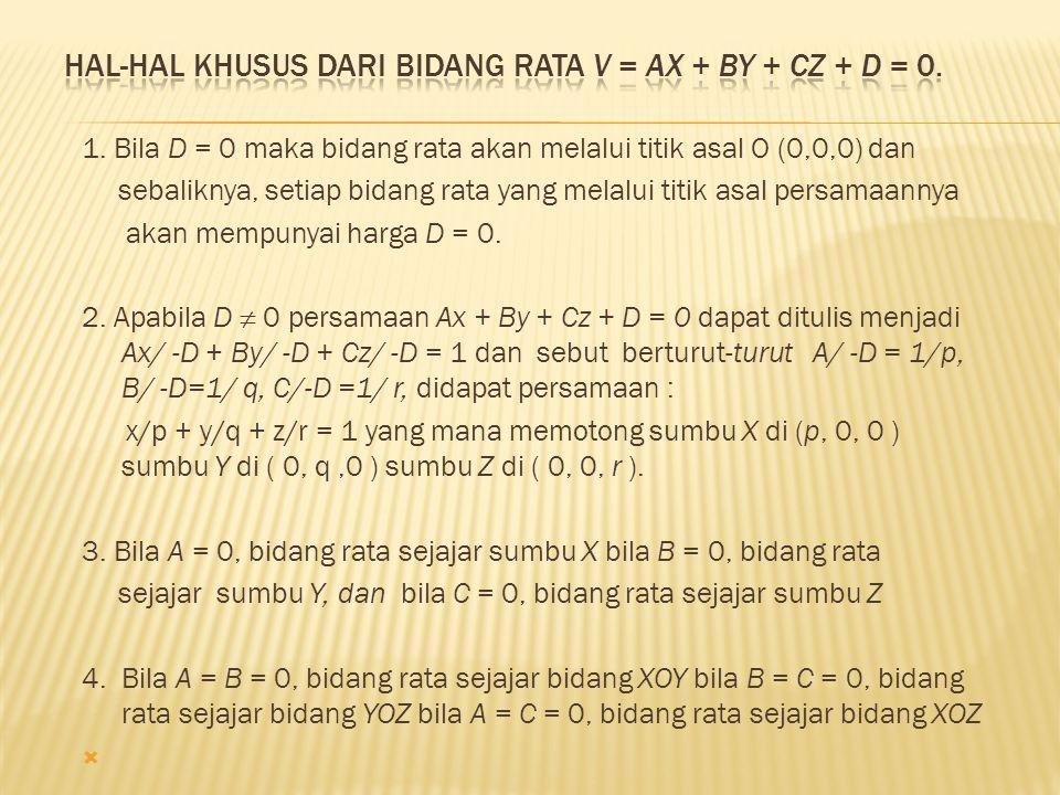Hal-hal khusus dari bidang rata V = Ax + By + Cz + D = 0.