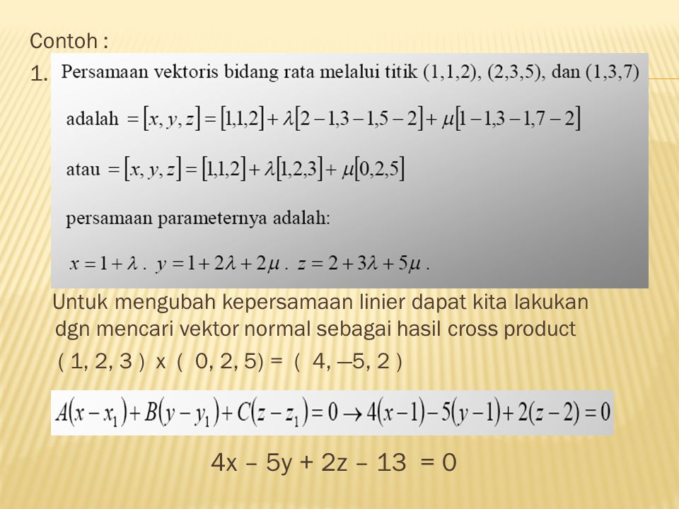 Contoh : 1. Untuk mengubah kepersamaan linier dapat kita lakukan dgn mencari vektor normal sebagai hasil cross product.