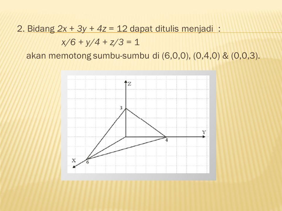 2. Bidang 2x + 3y + 4z = 12 dapat ditulis menjadi :