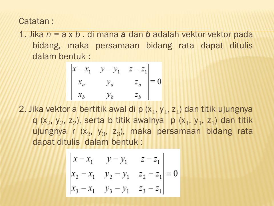 Catatan : 1. Jika n = a x b . di mana a dan b adalah vektor-vektor pada bidang, maka persamaan bidang rata dapat ditulis dalam bentuk :