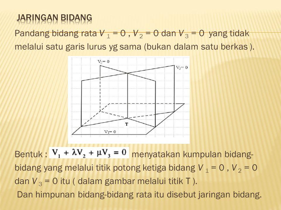 Jaringan bidang Pandang bidang rata V 1 = 0 , V 2 = 0 dan V 3 = 0 yang tidak. melalui satu garis lurus yg sama (bukan dalam satu berkas ).