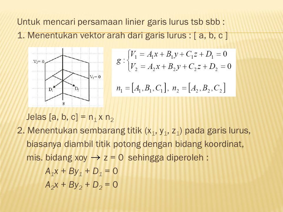 Untuk mencari persamaan linier garis lurus tsb sbb :