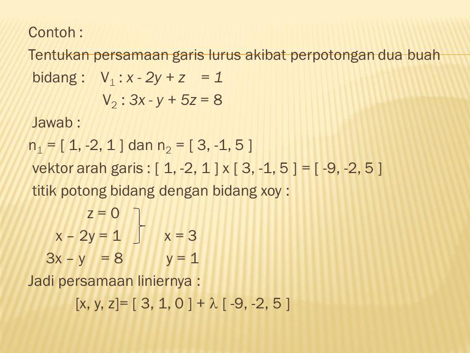 Contoh : Tentukan persamaan garis lurus akibat perpotongan dua buah. bidang : V1 : x - 2y + z = 1.
