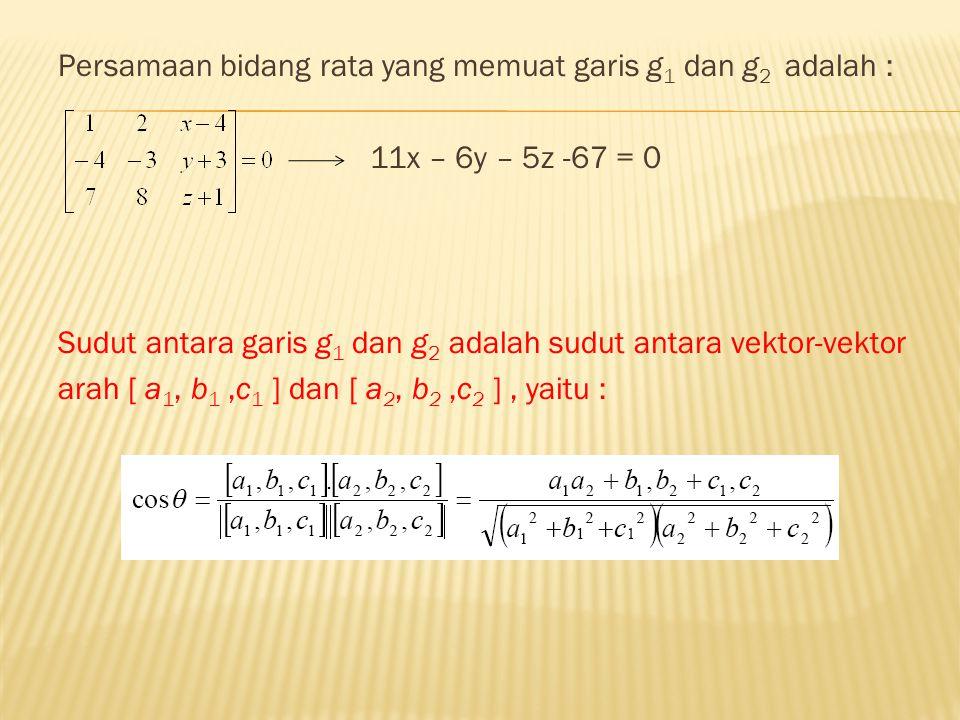 Persamaan bidang rata yang memuat garis g1 dan g2 adalah :