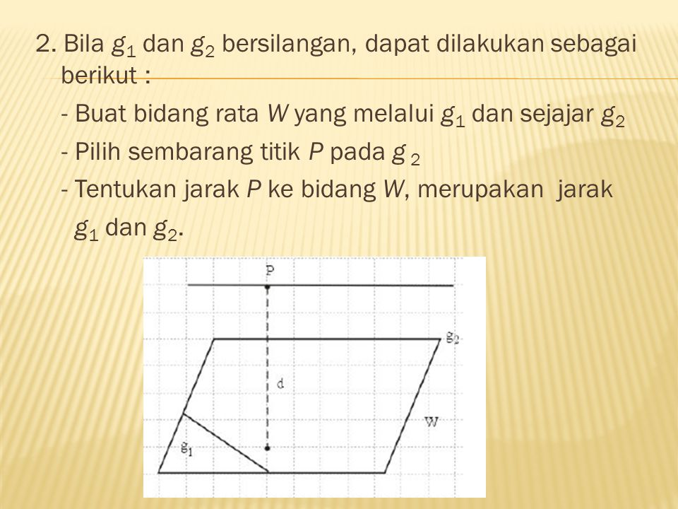 2. Bila g1 dan g2 bersilangan, dapat dilakukan sebagai berikut :