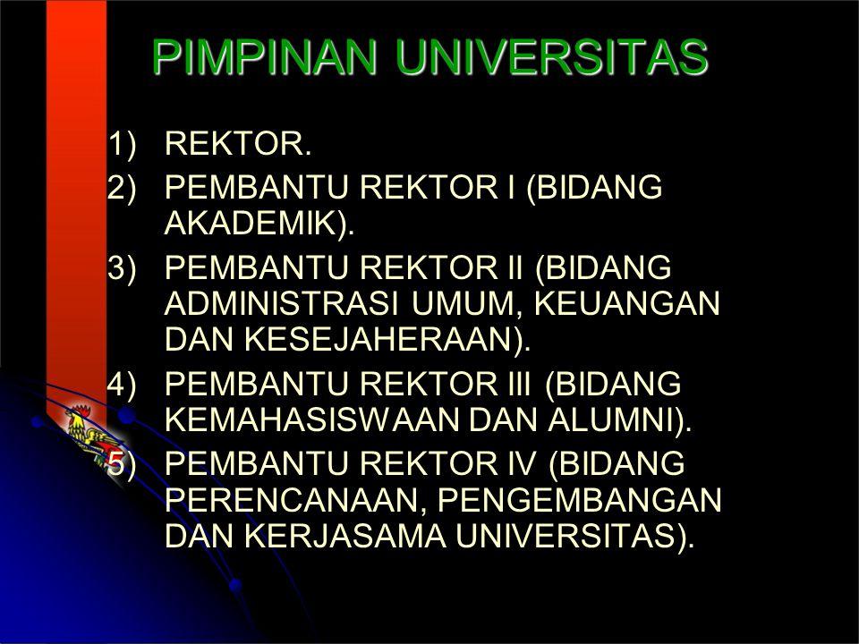 PIMPINAN UNIVERSITAS REKTOR. PEMBANTU REKTOR I (BIDANG AKADEMIK).
