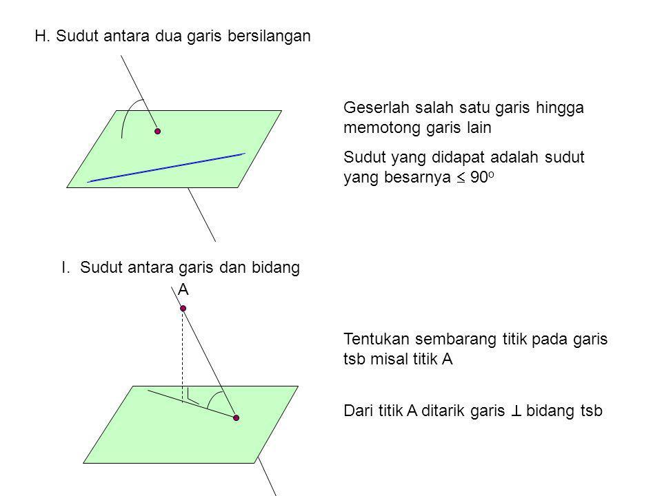 H. Sudut antara dua garis bersilangan